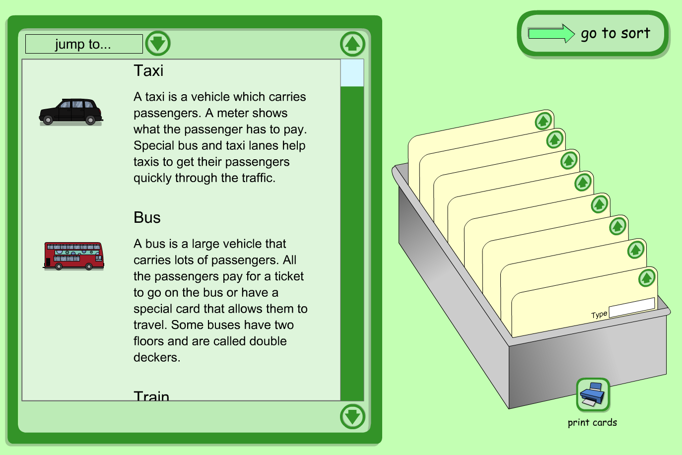 Interactive Index Cards Activity - Vehicles  - KS1 Literacy