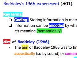 A level Edexcel Psychology Baddeley 1966b