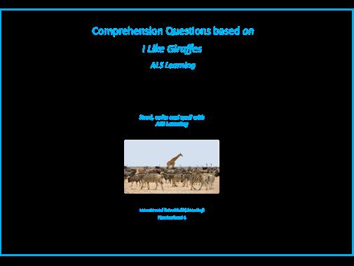 Comprehensions based on I Like Giraffes-Set 2