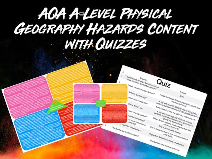 AQA A-LEVEL Geography Hazards Content with Quiz