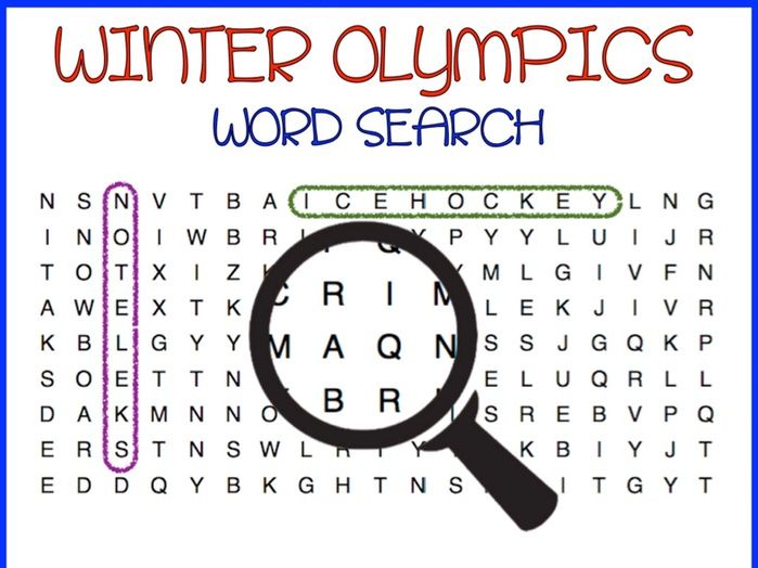 Winter Olympics 2018  Sports (Word Search)