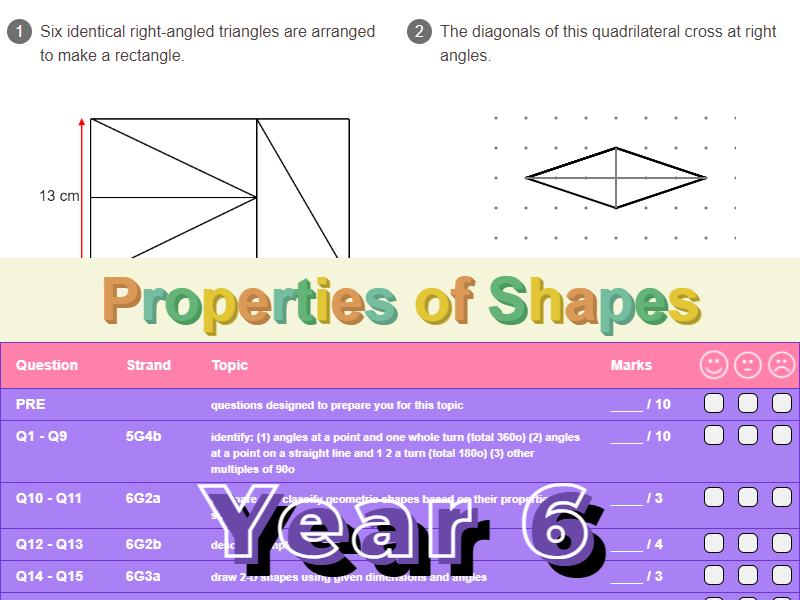 Properties of Shapes Worksheet + Answers (KS2 - Year 6)