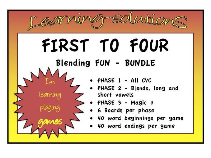 PHONEMIC DEVELOPMENT - FIRST TO FOUR GAME - Foundation Phonics - 4 levels - 3 Phases