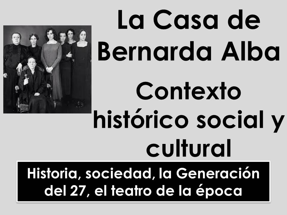 AQA/Edecxel A-level Spanish: La Casa de Bernarda Alba - Contexto histórico, social y cultural