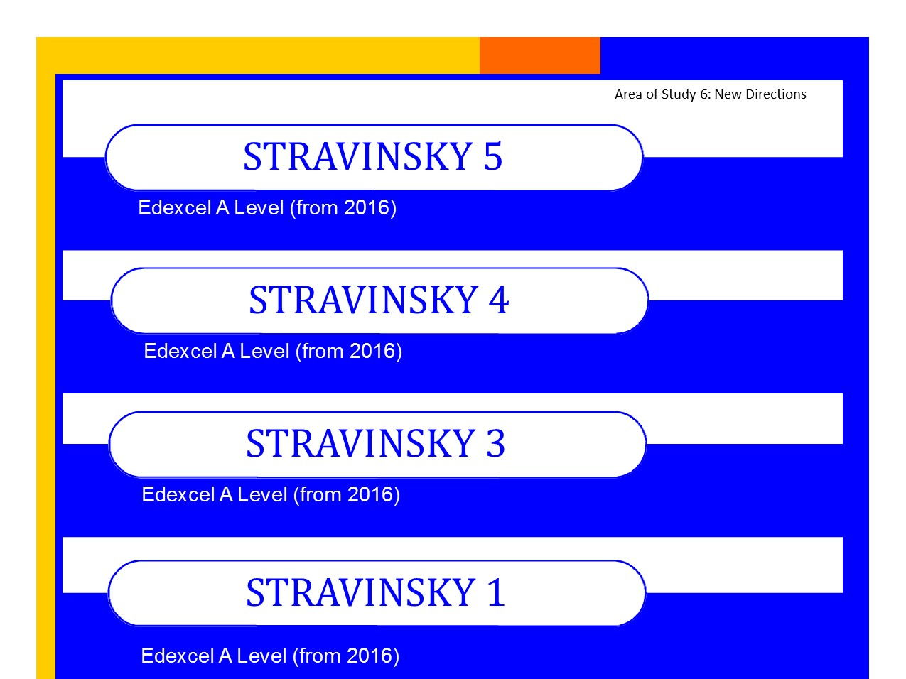 Bundle of Edexcel Music A level (from 2016) Stravinsky worksheets 1,3,4 and 5 PLUS Elements of Music summary sheets.