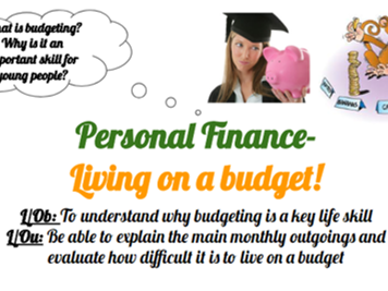 Post 16 PSHCEE Personal Finance- Living on a budget