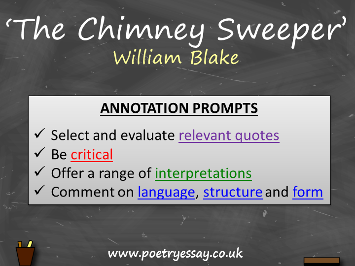 William Blake – 'The Chimney Sweeper' – Annotation / Planning Table / Questions / Booklet