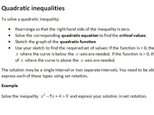 Notes and Examples for Edexcel A Level Maths Year 1 Topic 3: Equations and Inequalities
