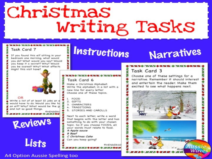 CHRISTMAS WRITING SET 2 Task Cards Writing ideas Most Text Types