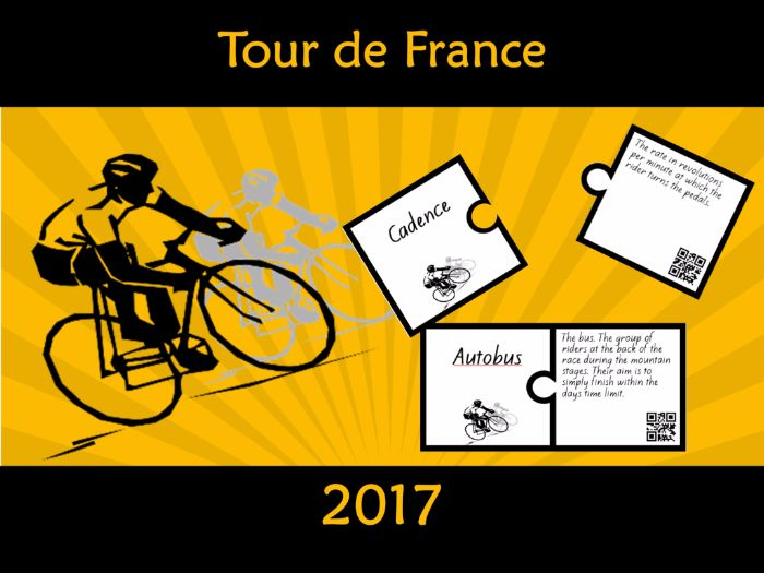 Tour de France Vocabulary Puzzle with QR code 2017