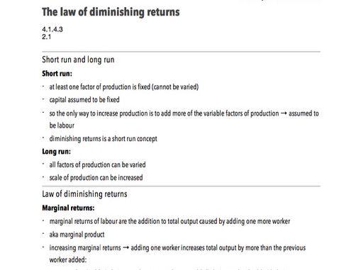 Law of Diminishing Returns - A-Level Economics