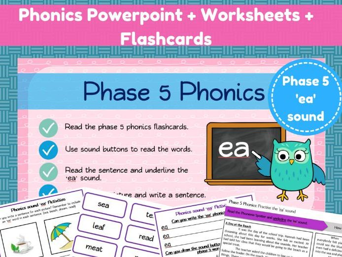 Phonics powerpoint and worksheets - the 'ea' sound.