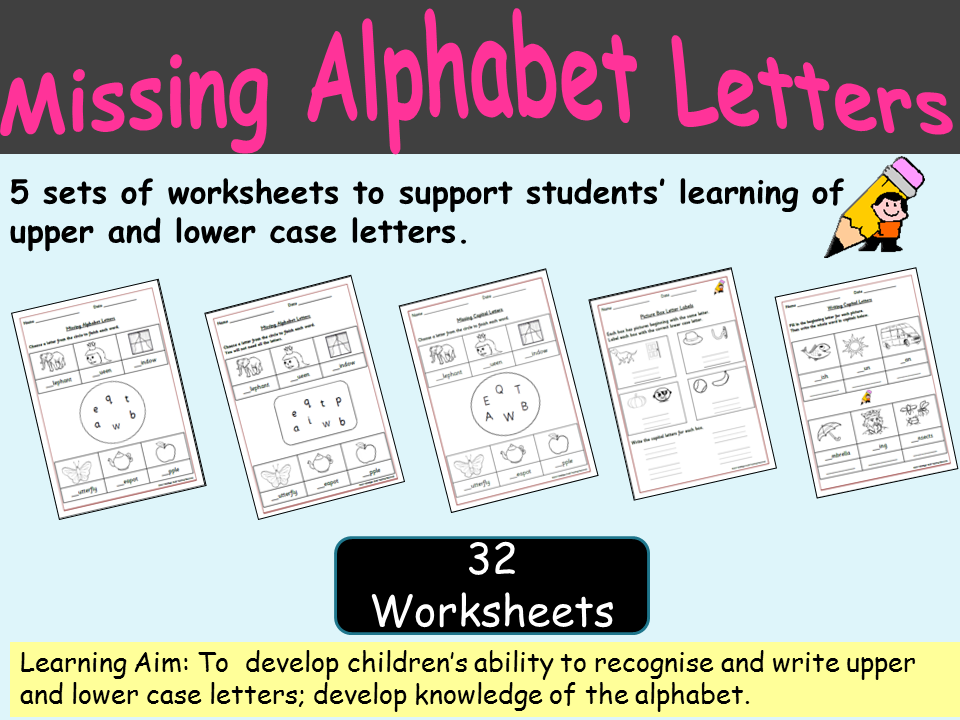 Alphabet: 5 Sets of Worksheets - Capital letters and Lower case letters