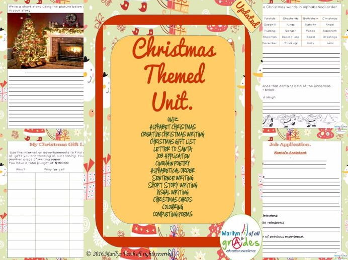 A Mini Christmas Unit of Activities, Worksheets, Writing, Poetry,  Grammar, Craft