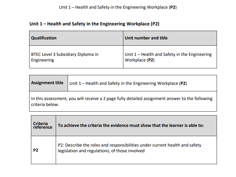 BTEC Level 3 Engineering: Unit 1 (P2) – Health and Safety in the Engineering Workplace