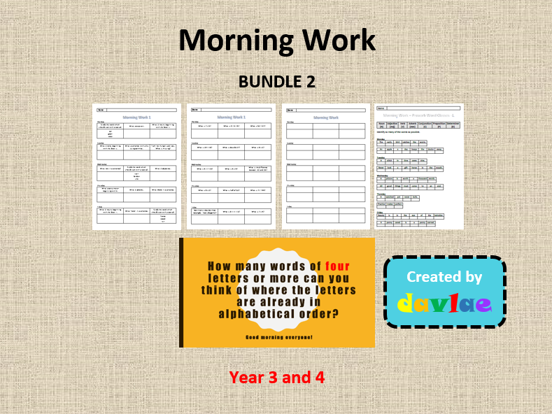 Morning Work - Year 3 and 4 - Bundle 2