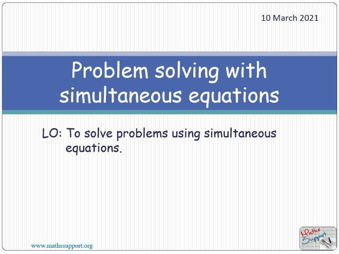 Solving problems with simultaneous equations