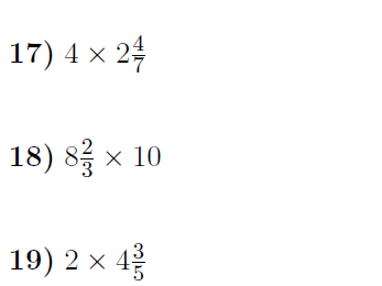 Multiplying mixed numbers and whole numbers worksheet no 2 (with solutions)