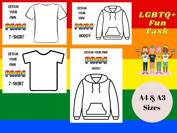 Pride Month - Design a T-shirt / Hoody Template WORKSHEET - LGBTQ