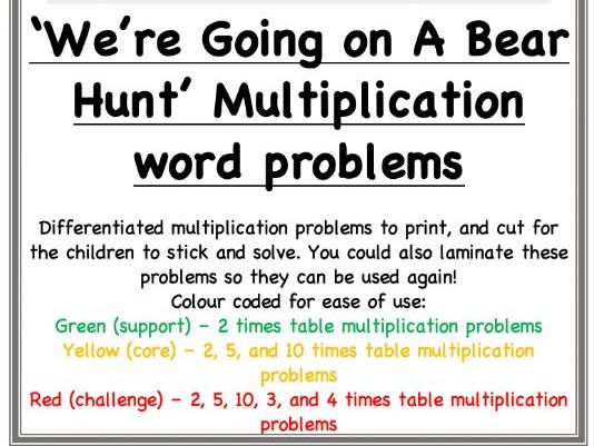Going on a Bear Hunt Maths: Multiplication word problems / Task cards