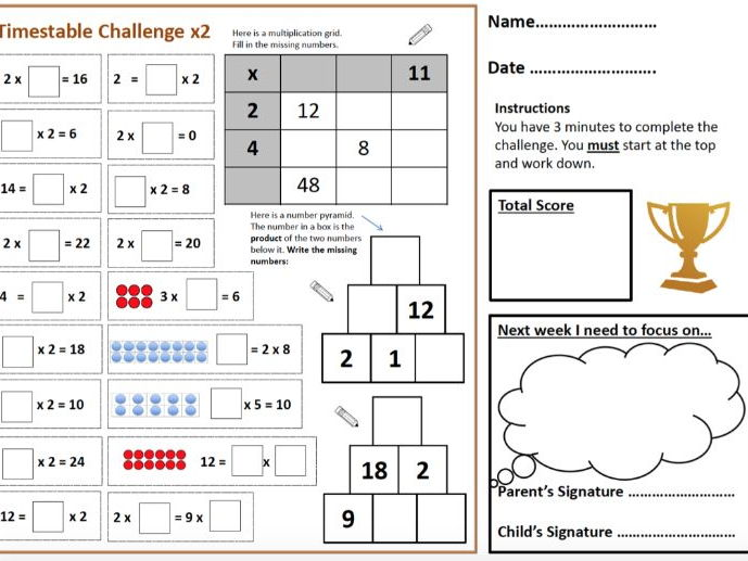 Times Table Challenge - Mastery - Expected and Greater Depth