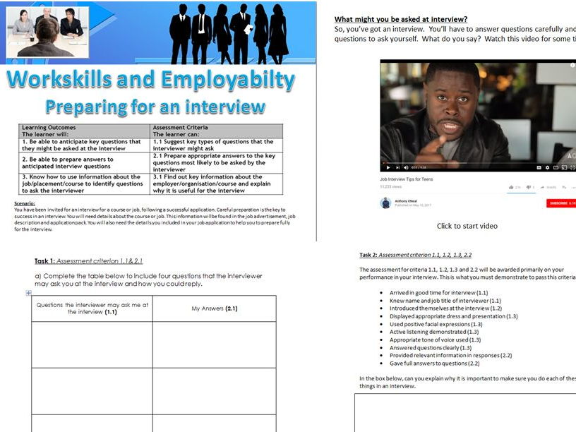 Employability Skills: Preparing for an Interview and Interview Skills