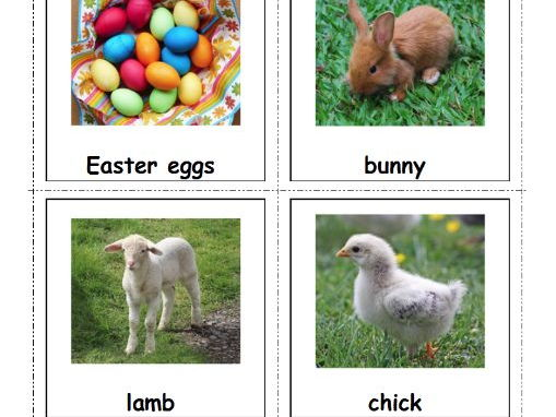 Easter Vocabulary Cards for Special Ed and Autism