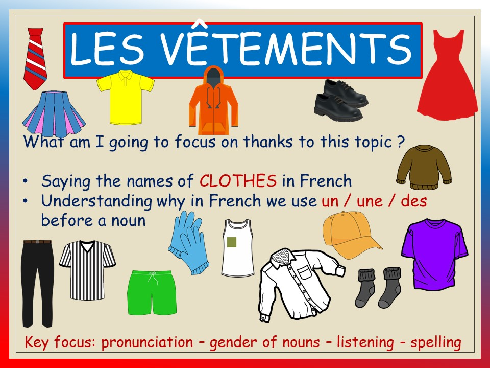 LES VETEMENTS_Vocabulary & pronunciation (KS1-KS2), audio included