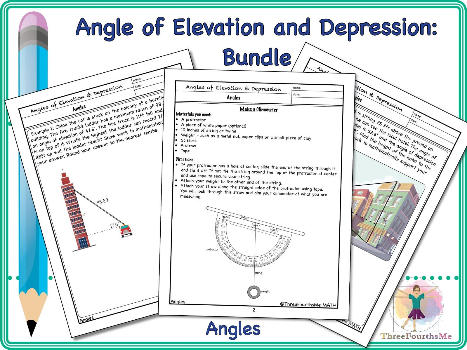BUNDLE: Angle of Elevation and Depression