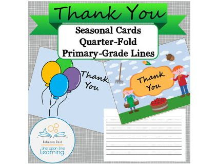 Thank You Cards SEASON Theme with primary-grade lines