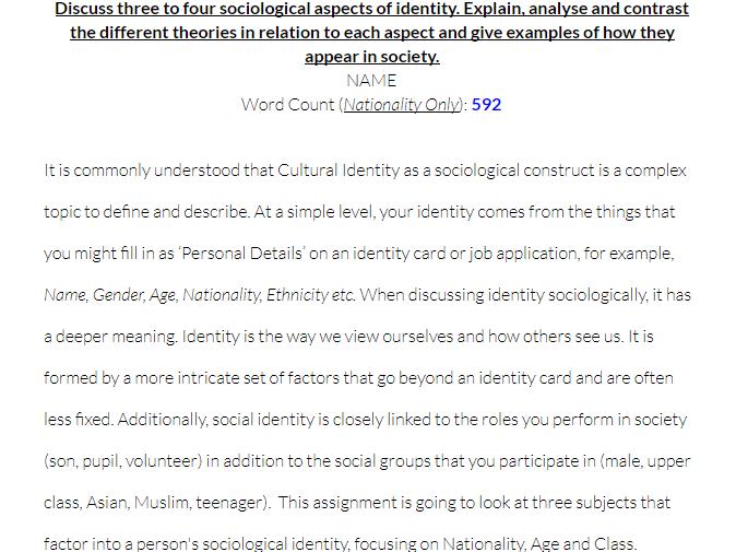 Kick Off Cultural Identity Essay - Sociology Example