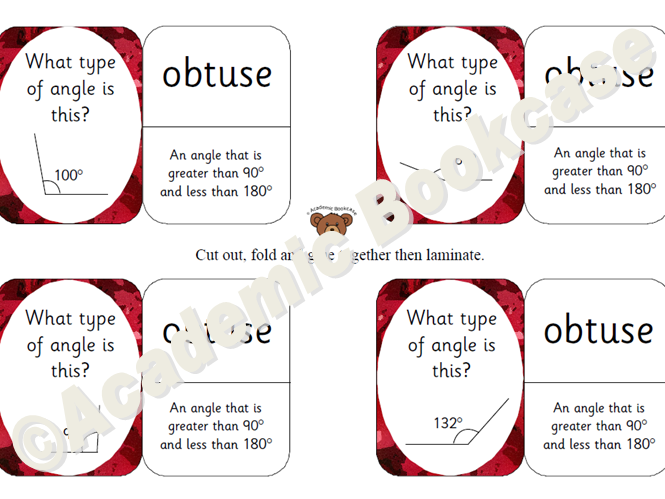 Self check maths flashcards - types of angles