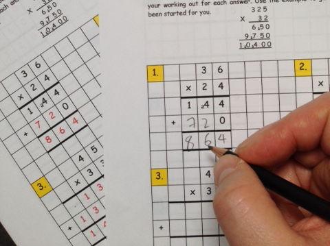 Maths: Long multiplication standard method