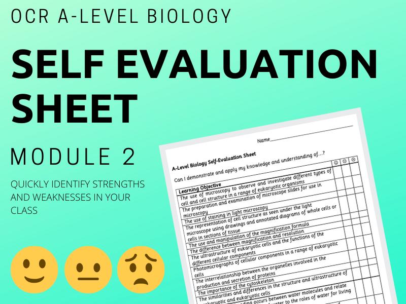 A-Level Biology Self Evaluation Tick Sheet OCR A Module 2