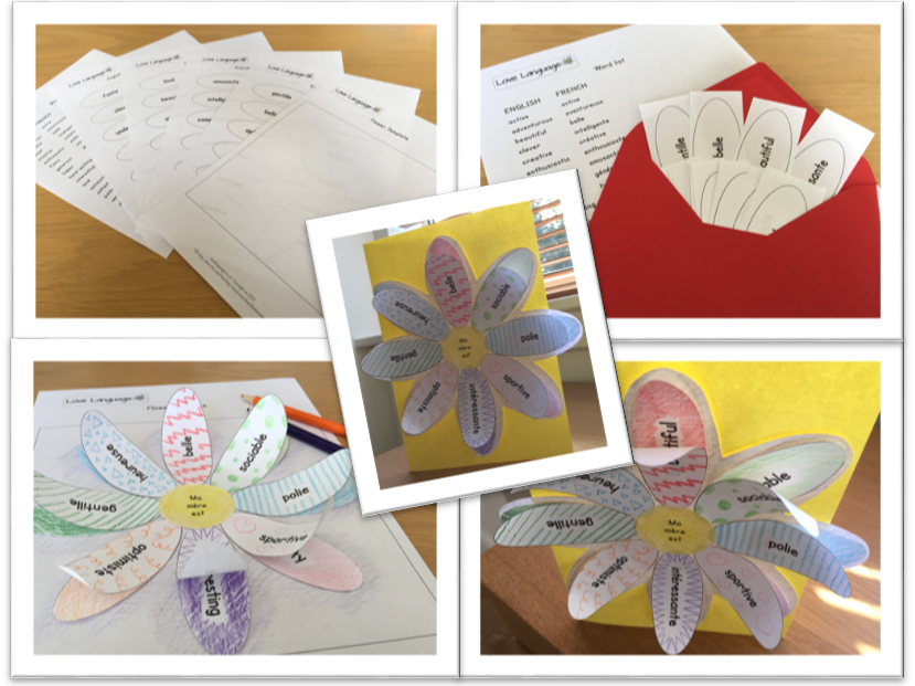 Spanish personalised Mother's Day card - adjectives and dictionary skills activity