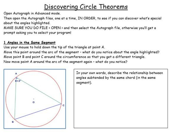 Discover Circles Theorems in Autograph (inc Distance Learning option)