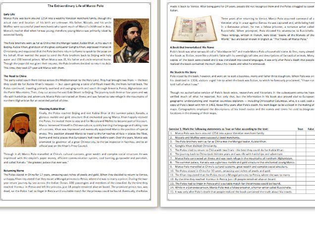 The Extraordinary Life of Marco Polo - Reading Comprehension Worksheet / Biography