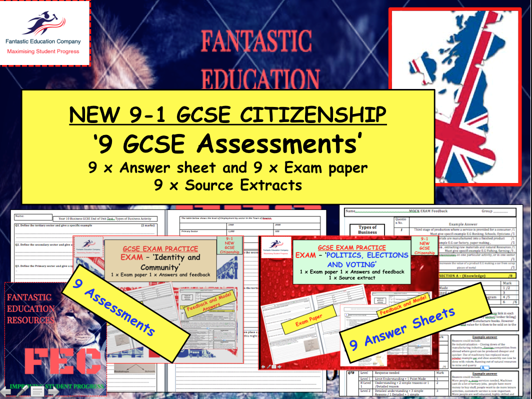GCSE CITIZENSHIP ASSESSMENTS AND EXAMS BUNDLE  x9 PAPERS