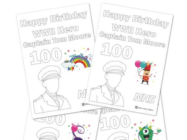 Happy Birthday to Captain Tom Moore FREE Colouring Sheets | Thank you from The Mark Makers