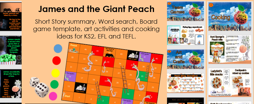 James and the Giant Peach  board game, art and cooking activities KS2 summer camp EFL TEFL