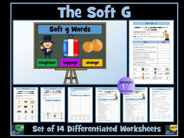 Soft G Sounds and Words: Set of 14 Differentiated Worksheets
