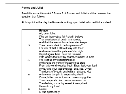 aqa english literature  paper   mock romeo and juliet questions  cover image