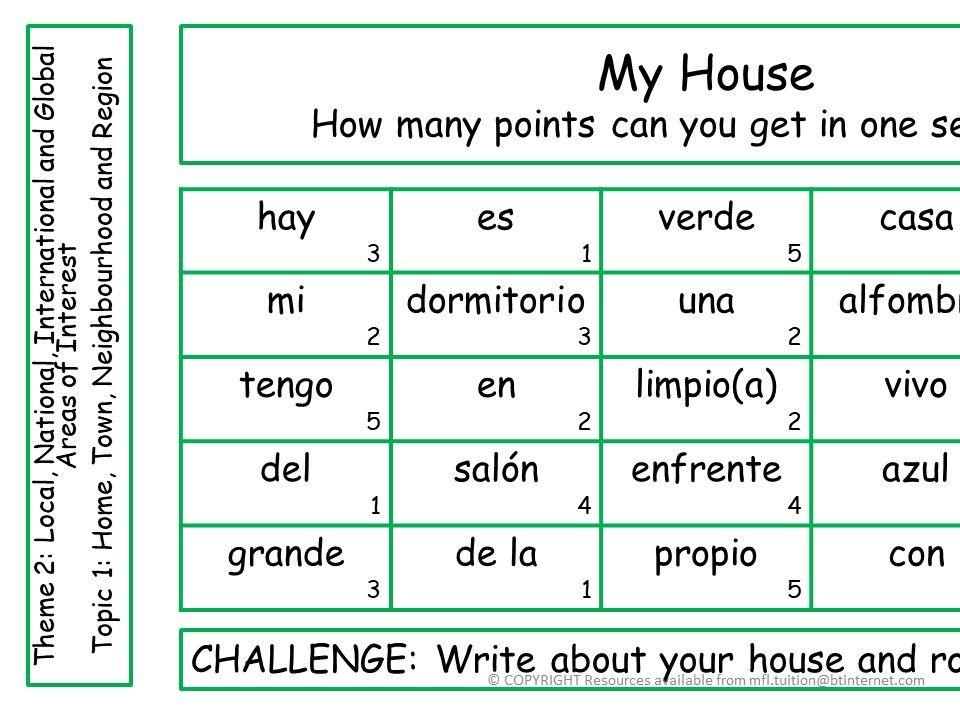 GCSE Spanish Sentence Challenges - ALL THEMES