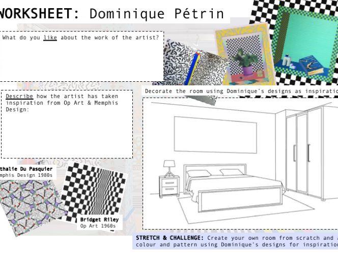 Op Art Graphic Design / Art Facts & Worksheet X2 - Self-Directed
