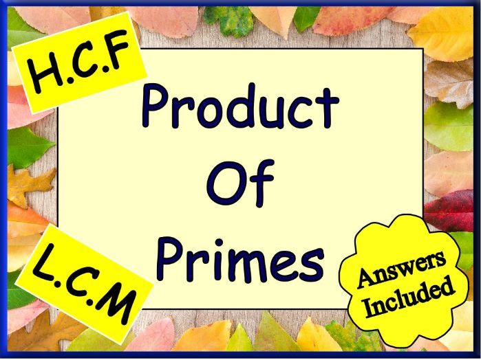 The Product Of Primes Worksheet - Including HCF and LCM + Answers