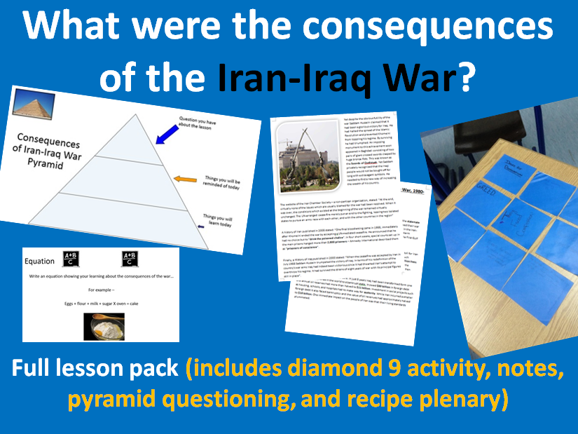 Consequences of Iran Iraq War - Full page lesson pack (starter, notes, activity, plenary)