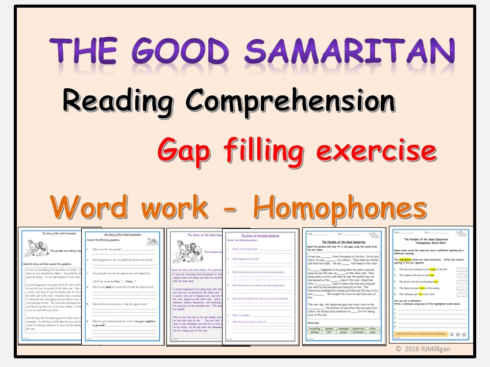 The Good Samaritan Worksheets - Reading Comprehension, Gap Filling (Cloze Activity), Homophones