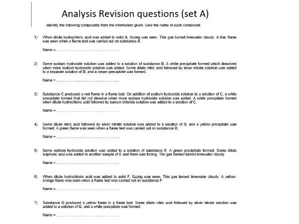 AQA GCSE Chemistry - C12 Revision - Analysis Revision Questions - Foundation