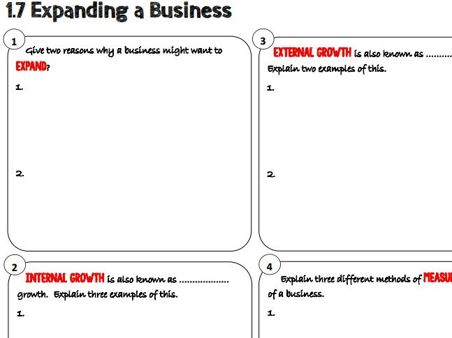 AQA GCSE Business (9-1) 3.1.7 Expanding a Business Learning Mat / Revision