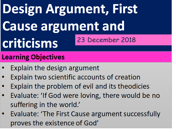 AQA THEME C:  DESIGN AND FIRST CAUSE ARGUMENTS + CRITICISMS AND THEODICIES